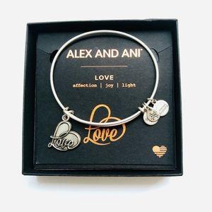 Alex and Ani Love Charm Bangle